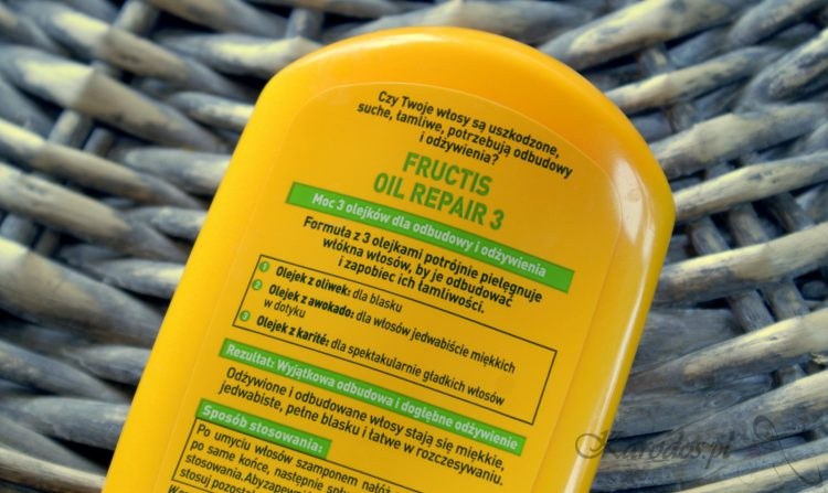 Garnier Fructis, Oil Repair 3, Odżywka wzmacniająca do włosów suchych i zniszczonych