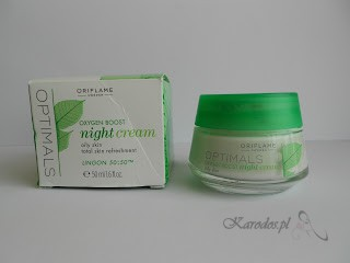 Oriflame, Optimals Oxygen Boost Night Cream – Krem na noc do cery tłustej