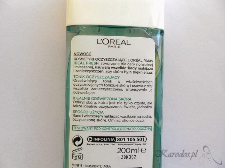 L'Oreal, Ideal Fresh, Orzeźwiający tonik odświeżający do cery normalnej i mieszanej