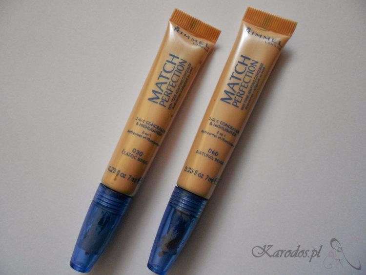 Rimmel, True Match Perfection – korektor rozświetlający 2 w 1 dopasowujący się do tonacji skóry (nr 030 i 060)