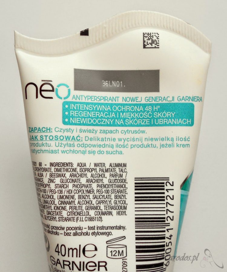 Garnier, Neo Shower Clean – Antyperspirant niewidoczny suchy krem