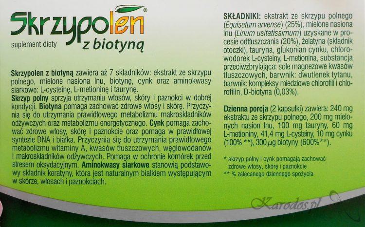 Skrzypolen z biotyną oraz z kwasem hialuronowym – efekty 2 miesięcznej kuracji