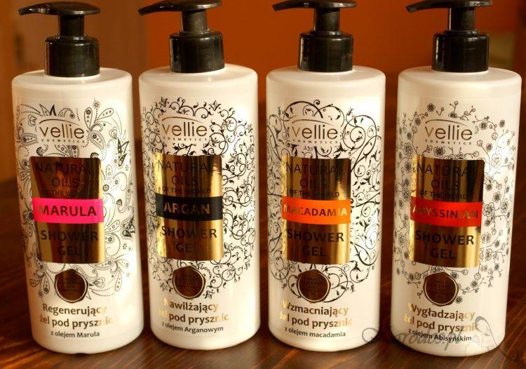 Vellie Cosmetics, Natural Oils Of The World, Żele pod prysznic (Marula, Macadamia, Argan, Abyssinian)