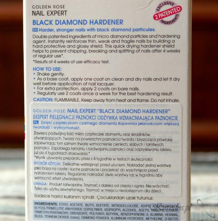 Golden Rose, Black Diamond Hardener – Odżywka wzmacniająca paznokcie